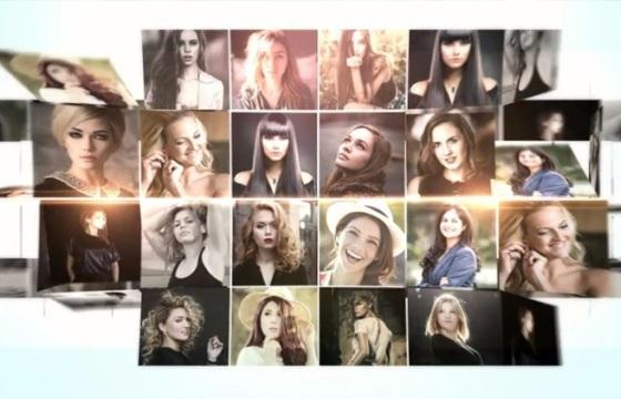 时尚简洁企业员工多照片墙汇聚LOGO标志演绎视频片头片尾 AE模板