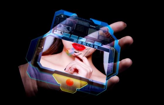 AE模板:手中的全息可触摸显示器创意未来科技风高科技触屏滑动Head's-Up Display