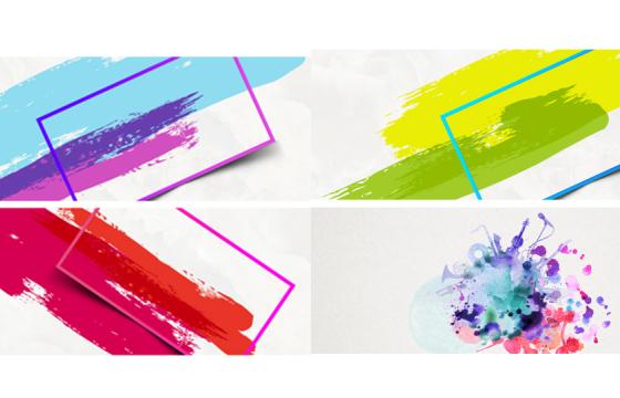 彩色泼洒水彩复古中国风水渍水彩墨迹背景PSD素材