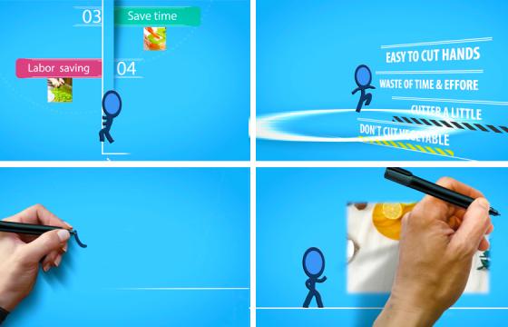 AE模板: 卡通火柴人动画广告 文字标题演绎 演讲文字动画