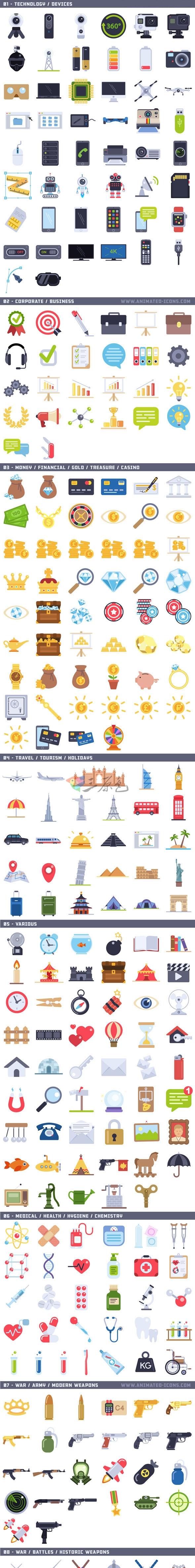 AE模板/素材 1000多个卡通元素平面图标动画工具包 Flat Animated Ae 模板-第2张