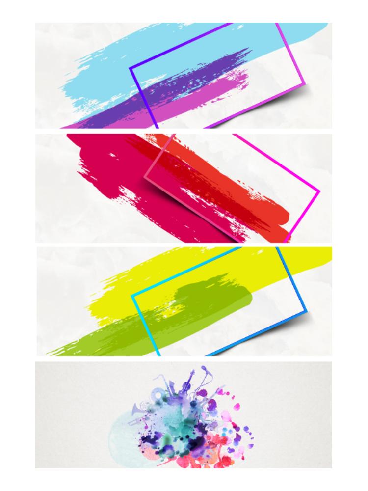 彩色泼洒水彩复古中国风水渍水彩墨迹背景PSD素材 平面素材-第2张