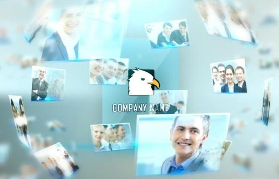 AE模板 高科技标志点击照片墙汇聚 Hi Tech Logo Opener