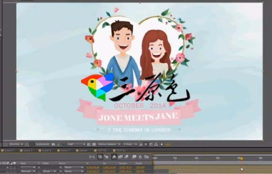 AE模板 卡通形式的婚礼相册 Fresh Color Wedding Invitation