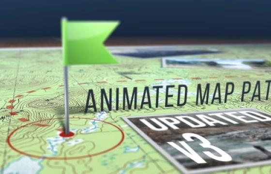 AE模板 地图指示标记路径动画 Animated Map Path v.3