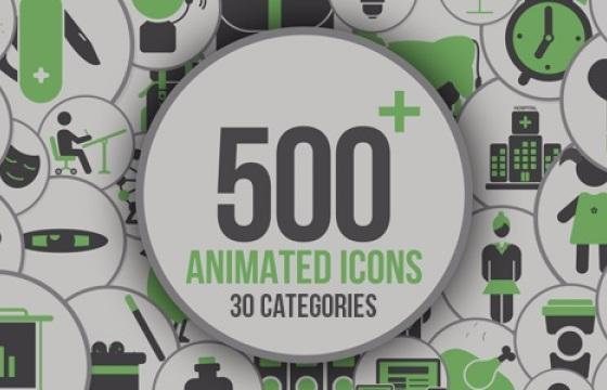 AE模板 图标图形动画模板  500+各类Icons图标动画 带音效