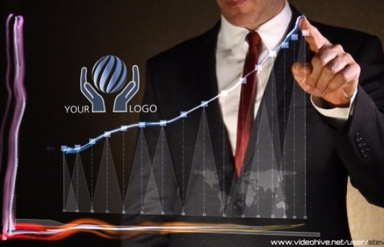 AE模板 公司数据特效展示 商务人物点击LOGO模板