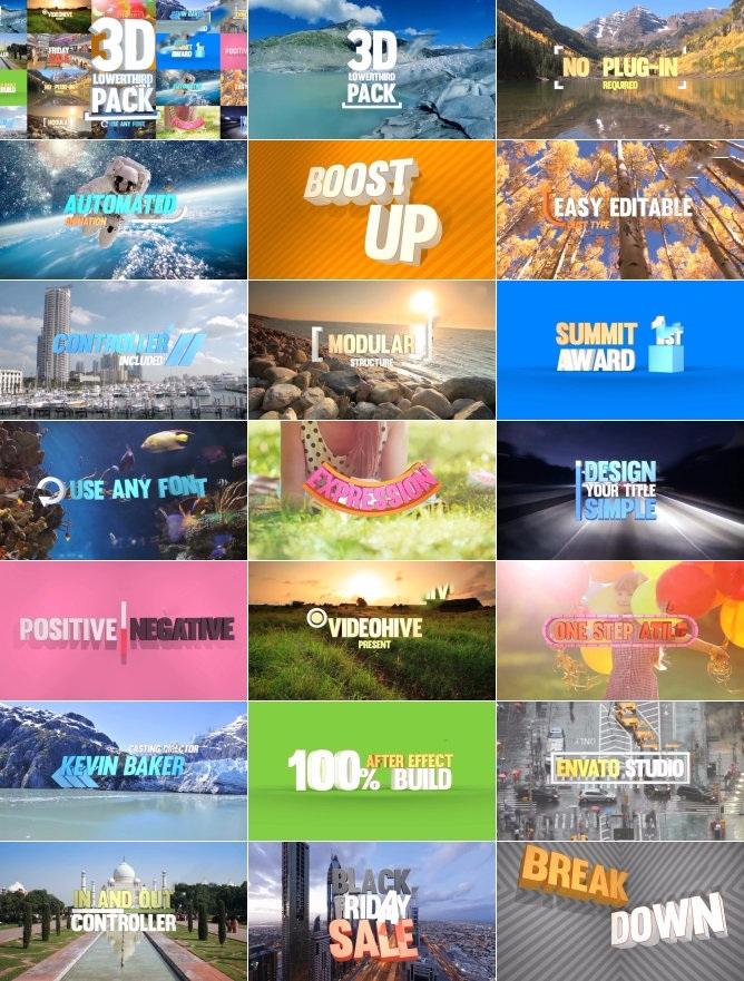 Ae模板 文字标题字幕条动画干净的三维效果文字排版 20组动画