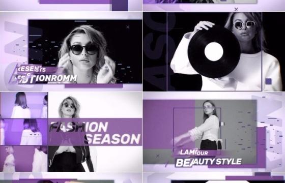 Ae模板 淡紫色主题的时尚影像展示开场AE工程错误 潮流 时尚 包装