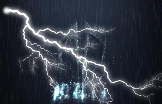 下雨打雷Logo演绎震感ae模板