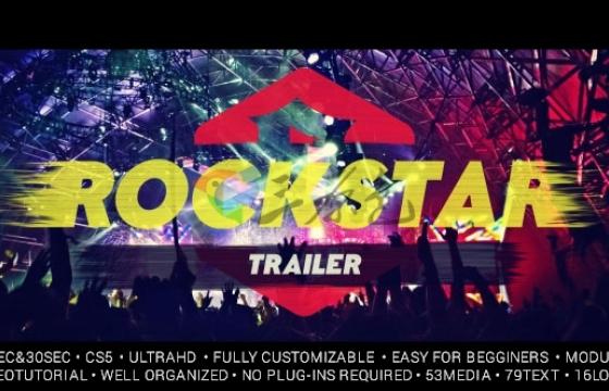 AE模板 极限运动 摇滚 赛车 派对笔刷文字标题 Rockstar Trailer