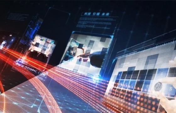 大气震撼光线蓝色科技图文动画片头AE模板