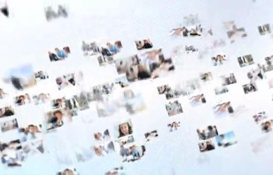 照片汇聚Logo无数小图像汇聚形成logo标志AE模板