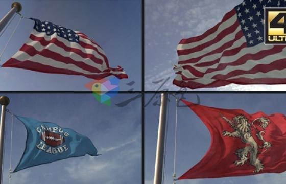 AE E3D模板 三维旗帜标志Logo制造3D Flag Loop Maker