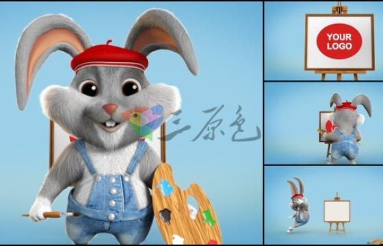 AE模板 可爱兔子小画家 Logo绘画 VideoHive Little Painter