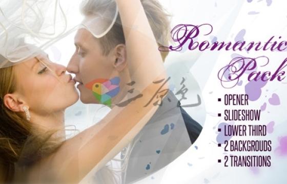AE模板 浪漫婚纱照相册绚丽心形转场过渡 Romantic Pack