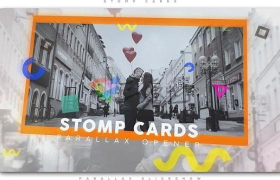 AE模板 快速幻灯片图片相册切换模板Stomp Cards Parallax Opener