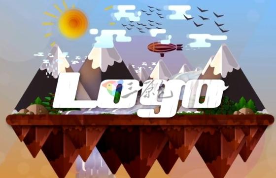 AE模板 弹出式低多边形卡通风景像素动画 Animated Landscape