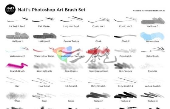 PS笔刷 铅笔 水彩 粉笔 墨水 油漆 天空云彩 艺术笔画集