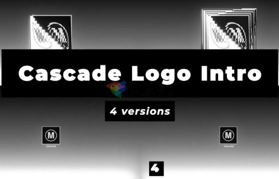 AE模板 拖影Logo标志动画展示开场片头 Cascade Logo Reveal