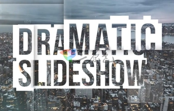 Pr模板 创意图片视频文字标题块状错乱视差 Dramatic Slideshow
