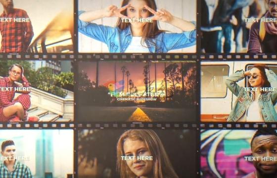 AE模板 照片视频相册胶卷分屏文字排版片头故事 Film Roll Story