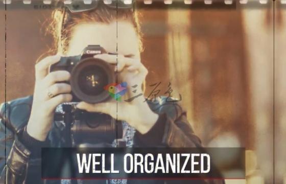 AE模板 电影胶片干扰画面损坏文字标题 Grunge Filmstrip Slideshow