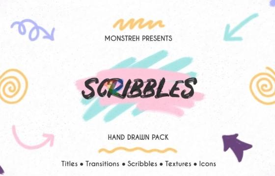 AE模板 可爱的创意彩色卡通手绘动画 Hand Drawn Pack