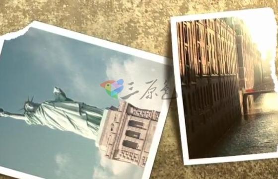AE模板 图片相册破损撕裂效果幻灯片片头 History Slideshow