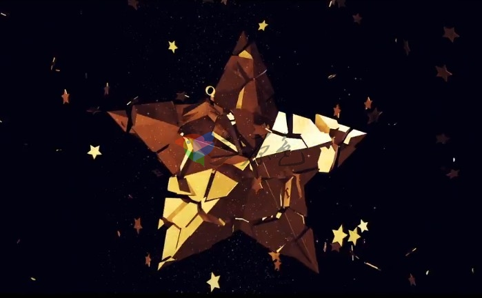 AE模板 E3D金色三维五角星旋转升起变形Logo展示 年会颁奖典礼