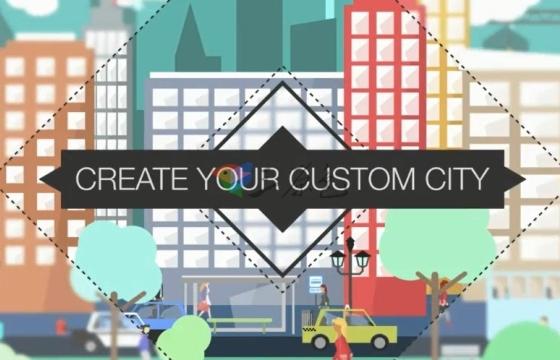AE模板 扁平化矢量城市建筑 行人 汽车 飞机 平面设计元素工具