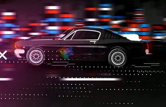 AE模板 汽车疾驰Logo展示片头模板 Mustang Cartoon Logo