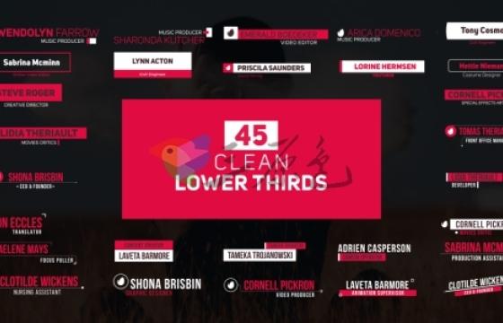 AE模板 45个文字字幕图形运动排版动画 Lower Thirds