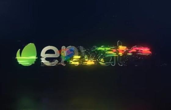 AE模板 色彩分离文字故障扰乱logo演绎片头Rotating Glitch Logo