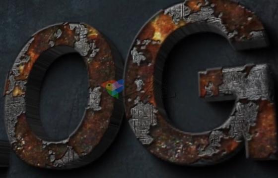 AE模板 金属铁锈 锈迹融化动画标志 Rust Metal Logo