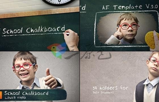 AE模板 学校校园教室黑板粉笔字动画School Chalkboard v3.0