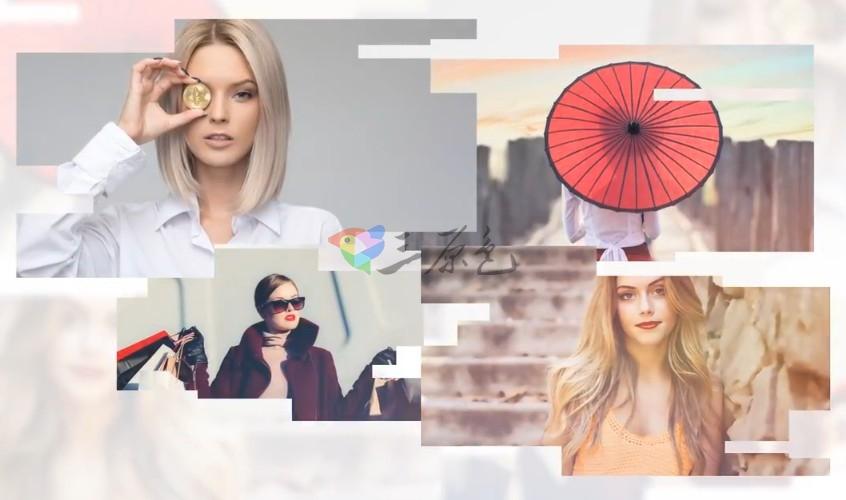 AE模板 时尚创意的视频图片相册分割幻灯片模板片头