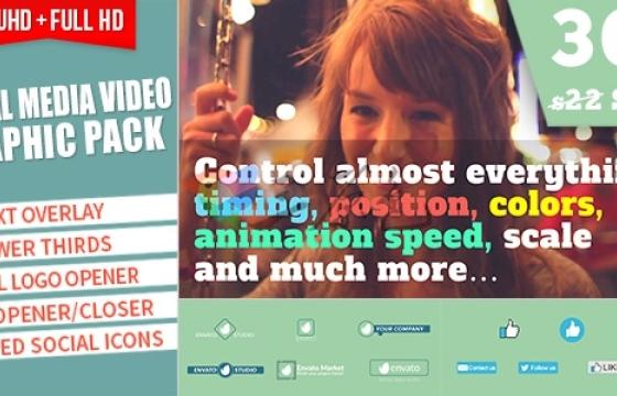 AE模板 社交媒体视频图形动画工具包 Social Media Video Graphic Pack