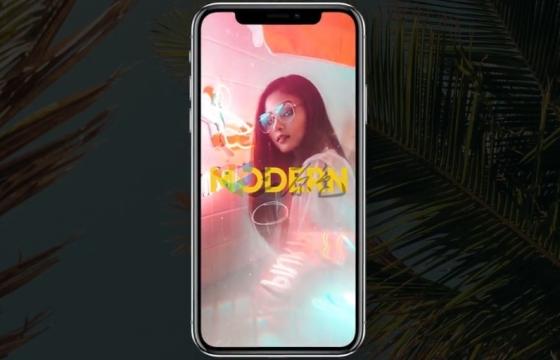 AE模板 时尚炫酷图片相册幻灯片 iphone X Stories Opener