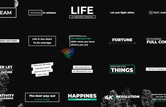 AE Pr字幕模板预设 创意20组字幕标题动画排版特效字幕 Titles