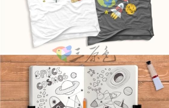 彩色 黑白 矢量儿童卡通 火箭 地球 月亮 UFO 太空 银河 太阳 平面素材