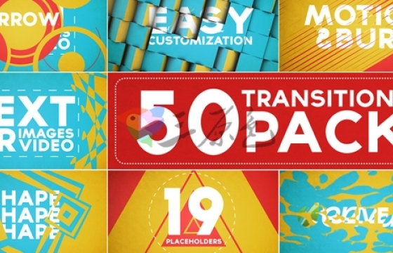 AE模板 50个视频转场过渡效果工具包 Transitions Pack with Opener