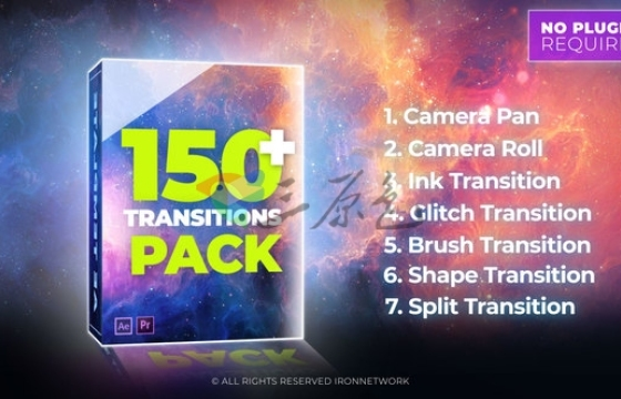 AE模板 150个MG图形动画视频转场过渡特效 Videohive Transitions