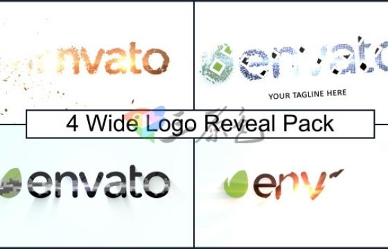 AE模板 创意简约文字标题Logo展示片头 Wide Logo Reveal Pack