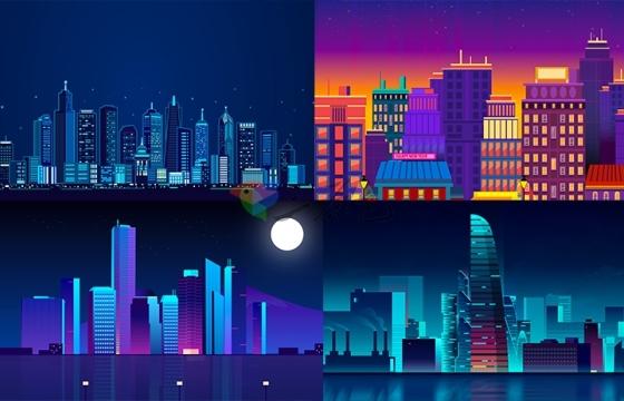 大气简约城市夜晚背景图