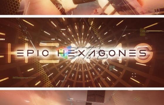 AE模板 六角形图片切割转场过渡相册片头 Epic Hexagones Technology