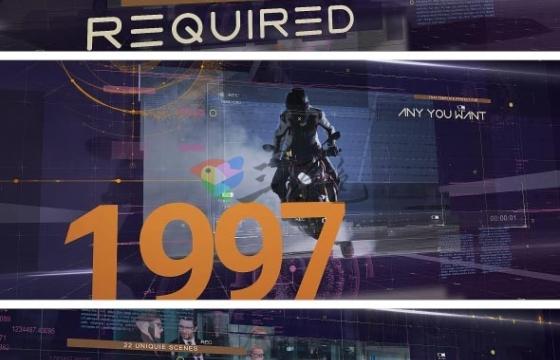 AE模板 未来科幻三维视差空间时间轴 Techno Time Media