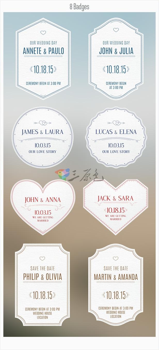 AE模板 婚礼结婚视频纪念标签 Videohive Wedding Badges Ae 模板-第1张