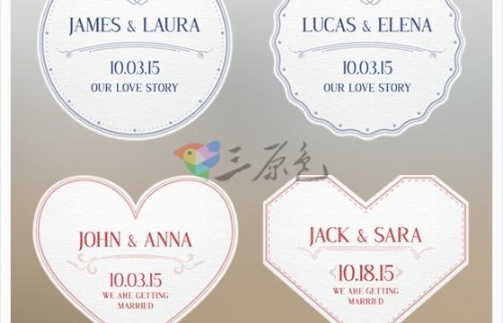 AE模板 婚礼结婚视频纪念标签 Videohive Wedding Badges
