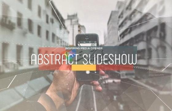 AE模板 图片视差三维过渡幻灯片开场 Abstract Parallax Slideshow